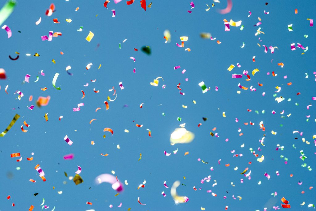 Biodegradable paper Confetti flying in the air
